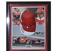 Signed Kimi Raikkonen Ferrari Framed Cap - Formula 1 - Autographed NASCAR Helmets from Sports Memorabilia