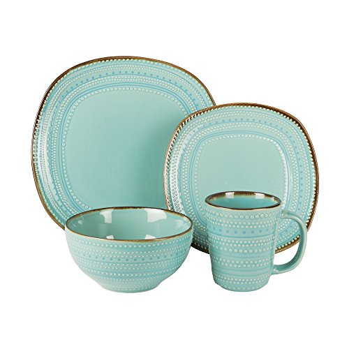 American Atelier 6589-16rb 16 Piece Tallulah Dinnerware Set, Teal (Sets Used Dinnerware)