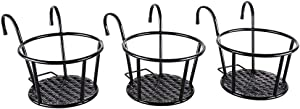 Iron Art Hanging Baskets Flower Pot Holder,Over The Rail Metal Fence Planters Assemble Hangers Great for Patio Balcony Porch or Outdoor Fence- Pack of 3 Black