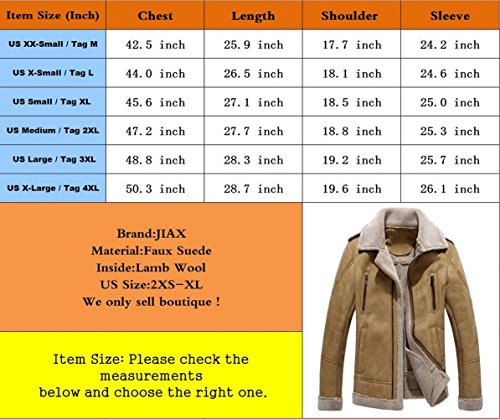 JIAX Men's Business Military Lapel Jacket Winter Thicken Suede Pea Toggle Coat (X-Large, Khaki) by JIAX (Image #6)