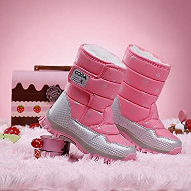 Girls Outdoor Plush Waterproof Winter Snow Boots Kids Puffy Fur Warm Booties Frosty Icicle Cold Weather