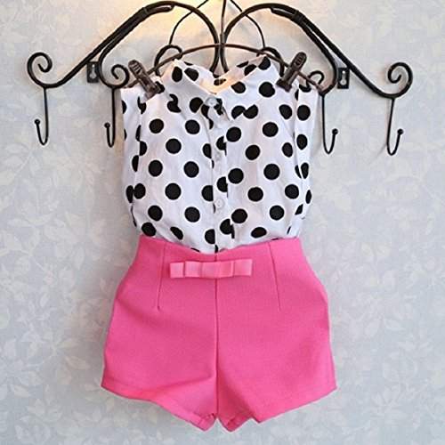 Culater® Fille Enfant Polka Dot T-shirt Tops + Bowknot Pantalons Shorts