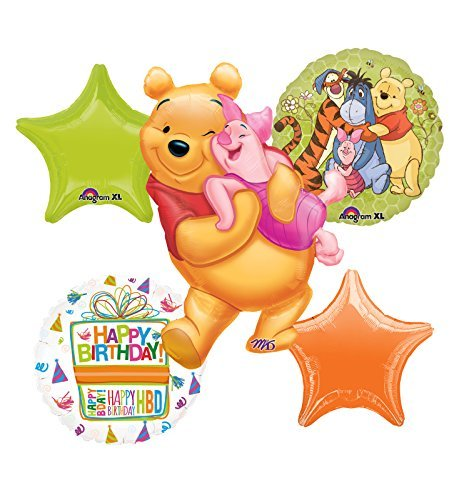 Winnie The Pooh, Tigger, Piglet and Eeyore Birthday Party Balloon Bouquet Decorations]()