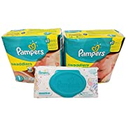 Pampers Swaddlers Diapers, Size 1, 20 Count Pack of 2 (Total of 40 Pampers) - Pampers Sensitive Wipes Travel Pack 56 Count.