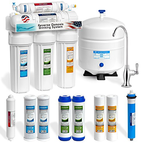 Express Water RO5DX 5 Stage Undersink Reverse Osmosis Drinking Water Filtration System plus Extra Set of 4 Supreme Quality Replacement Filters - Undersink Reverse Osmosis System