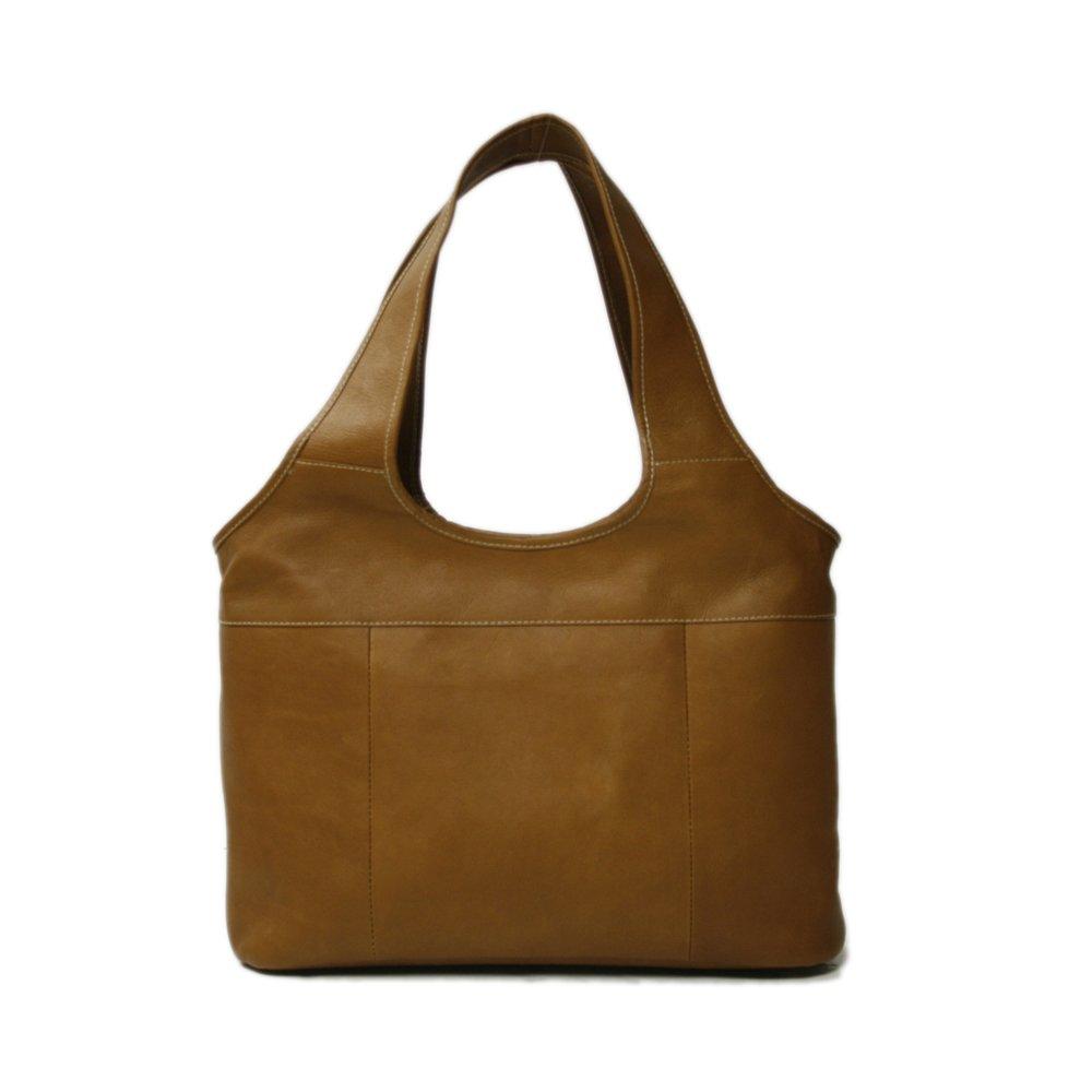 Piel Leather Laptop Hobo, Saddle, One Size