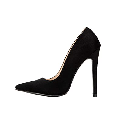 ... Burgundy Black Suede Pumps Sexy Point Toe High Heels Ladies Slip-on  Stiletto Shoes for ... 2bb50e3957b62