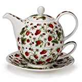 Dunoon Pretty Dovedale Strawberry Ladybird Fine Bone China Tea One Teapot Cup Saucer Set