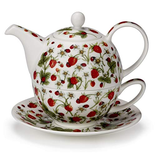Dunoon Pretty Dovedale Strawberry Ladybird Fine Bone China Tea One Teapot Cup Saucer Set by Dunoon (Image #1)