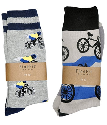- Fine Fit Mens Novelty Print Trouser Socks 2 Pair Set (Bicycles)