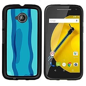 KLONGSHOP // Cubierta de piel con cierre a presión Shell trasero duro de goma Protección Caso - Nadar en día azul - Motorola Moto E2 E2nd Gen //