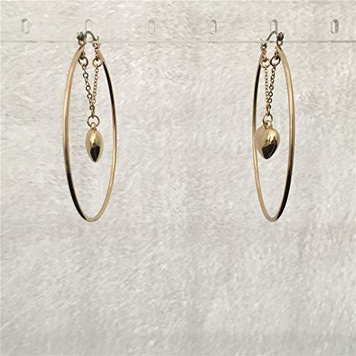 Lovely Gold Color Heart Hanging Inside Hoop Earring