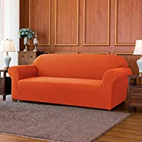 subrtex 1 Pieza Funda Sofa Elasticas Fundas de Sofa Antideslizante Cubierta Forros para Sofas Anti Arañazos Ajustable Protector (2 Plazas, Naranja)