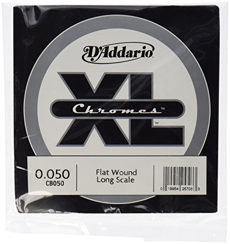 Flatwound Single - D'Addario Single Bass Chromes Flat Wound 050 Long Scale  Strings