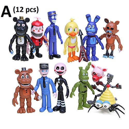 PAPWELL Set 12 Five Nights at Freddy's Action Figures 2 - 4.5 inch FNAF Hot Toys Foxy Chica Bonnie Freddy Fazbear Toy Halloween Christmas Collectable Gift Collection Gifts for Kids (Set A (12 pcs)) -