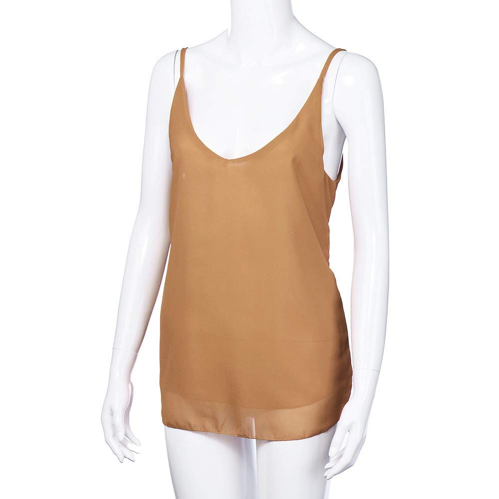 iLUGU Women V Neck Tank Top Chiffon Sleeveless Shirt Vest Cami T Shirt for Blouse Khaki by iLUGU (Image #4)
