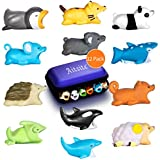 Aitsite Cable Protector Animals Prime Cable Cord Protector Accessory for All Mobile Phone (Hedgehog+Panda+Chameleon+Cat+Whale Shark+Dolphin+Killer Whale+Penguin+Koala+Squirrel+Sheep+Mouse, 12 Pieces)