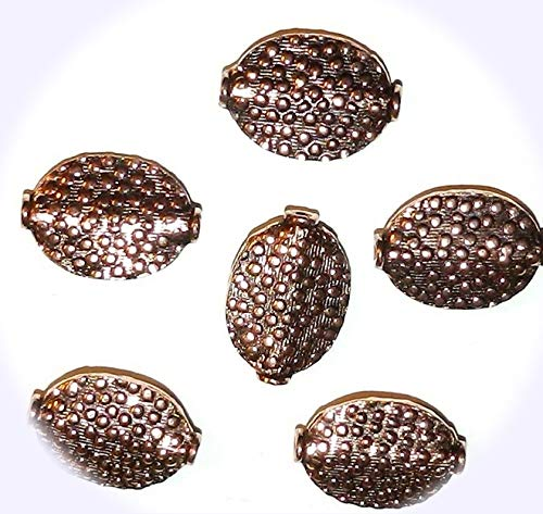 New Textured Oval Glass Beads - New Antiqued Copper Jewelry-Making Beaded Dot Textured Flat Oval 20mm Handcrafted Jewelry-Making Beads 6pc DIY Craft Supplies for Handmade Bracelet Necklace
