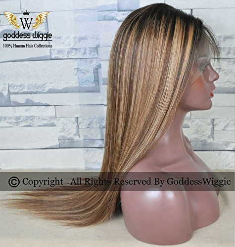 Ombre hightlight balyage colour Human Remy Hair Lace Front Super Straight wigs (18inch 150%) by Goddess