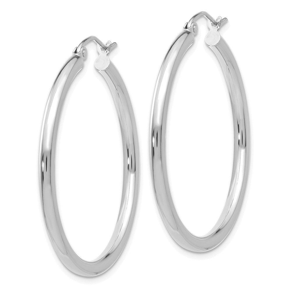 Mia Diamonds 14k White Gold 2.5mm Round Hoop Earrings
