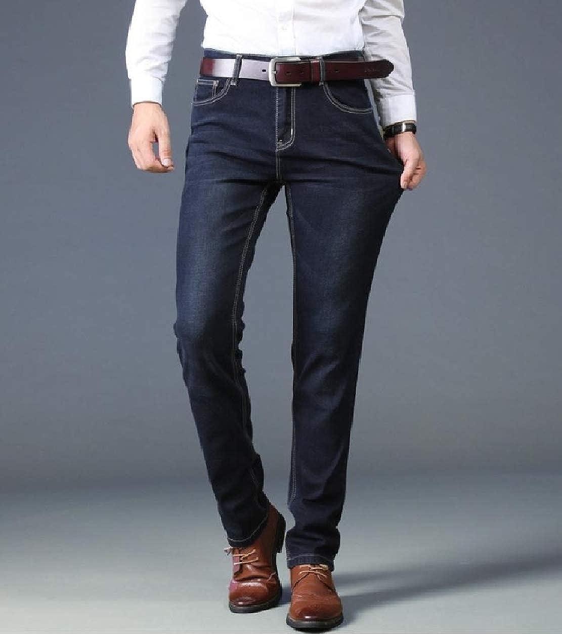 Howme Mens Denim Pants Washed Stretch Slim Fitting Big Tall Jeans