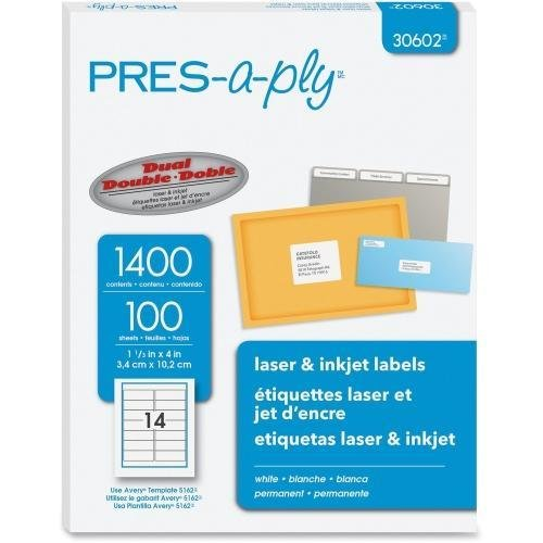 Laser Labels, Shipping, 1-1/3 quot;x4 quot, 1400/BX, White