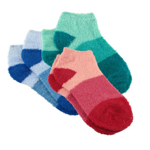 BambooMN Women's Small Super Aloe Infused Fuzzy Nylon Socks (3 Pairs) - Assortment 99