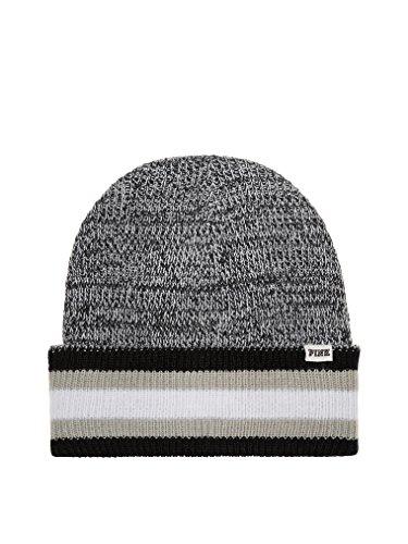 nk Knit Beanie Hat Black & Grey Marl Reversible OS ()