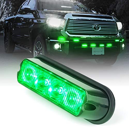 Xprite Green 4 LED 4 Watt Emergency Vehicle Waterproof Surface Mount Deck Dash Grille Strobe Light Warning Police Light Head with Clear Lens