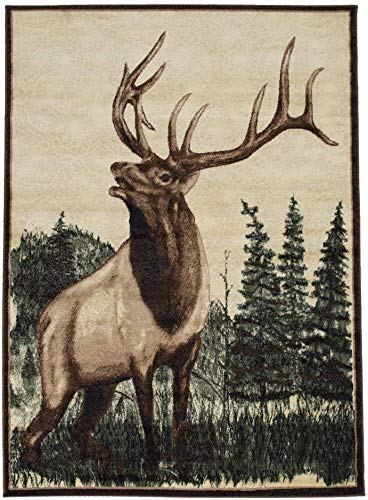Maxstock Lodge Collection Wilderness/Rustic/Wildlife/Nature Cabin Style Area Rug (5 feet x 7 Feet) (Cabin Style Rooms)
