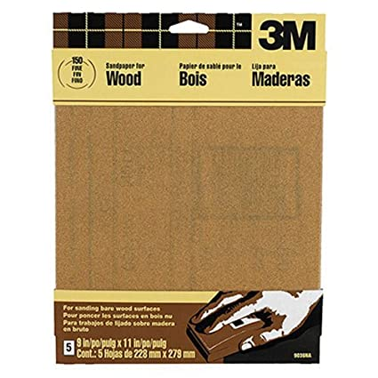3M Garnet Sandpaper, 9-Inch x 11-Inch, Course Grit, 4-Pack, (9038NA)