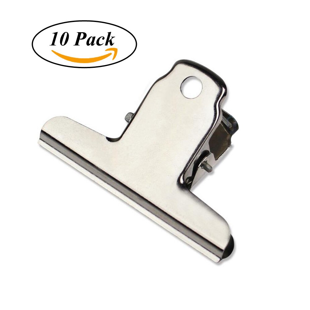 4 inch Large Bulldog Clip, Coideal 10 Pack Silver Stainless Steel File Money Binder Clips Clamps/Metal Food Bag Paper Clips for Home Office School Supplies (Square)