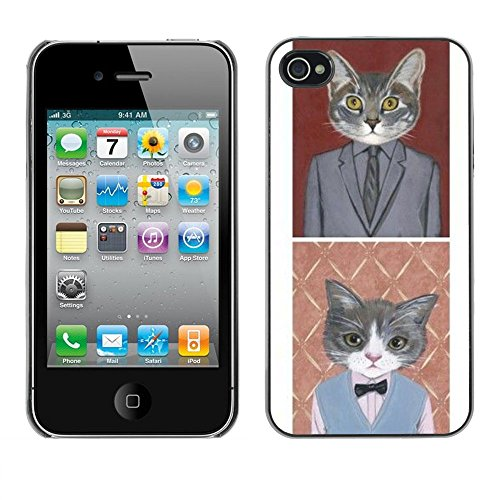 Soft Silicone Rubber Case Hard Cover Protective Accessory Compatible with Apple iPhone? 4 & 4S - business cat funny cute pop art suit