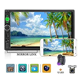 "Car Stereo 2 din car Radio 7"" HD Player MP5 Touch Screen Digital Display Bluetooth Multimedia USB 2 Din Double Din Autoradio Mobile Phone Interconnection with 12 LED Car Backup Camera 1"