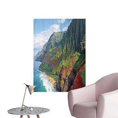 Vinyl Artwork Pali Coast Kauai Hawaii Seashore Greenery Adventurous Journey Landscape Easy to Peel Easy to Stick,16