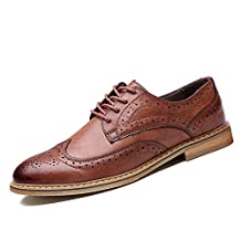 XDX Taste Of Life Retro Men's Brogue Leather Oxford Lace-up Shoes Casual