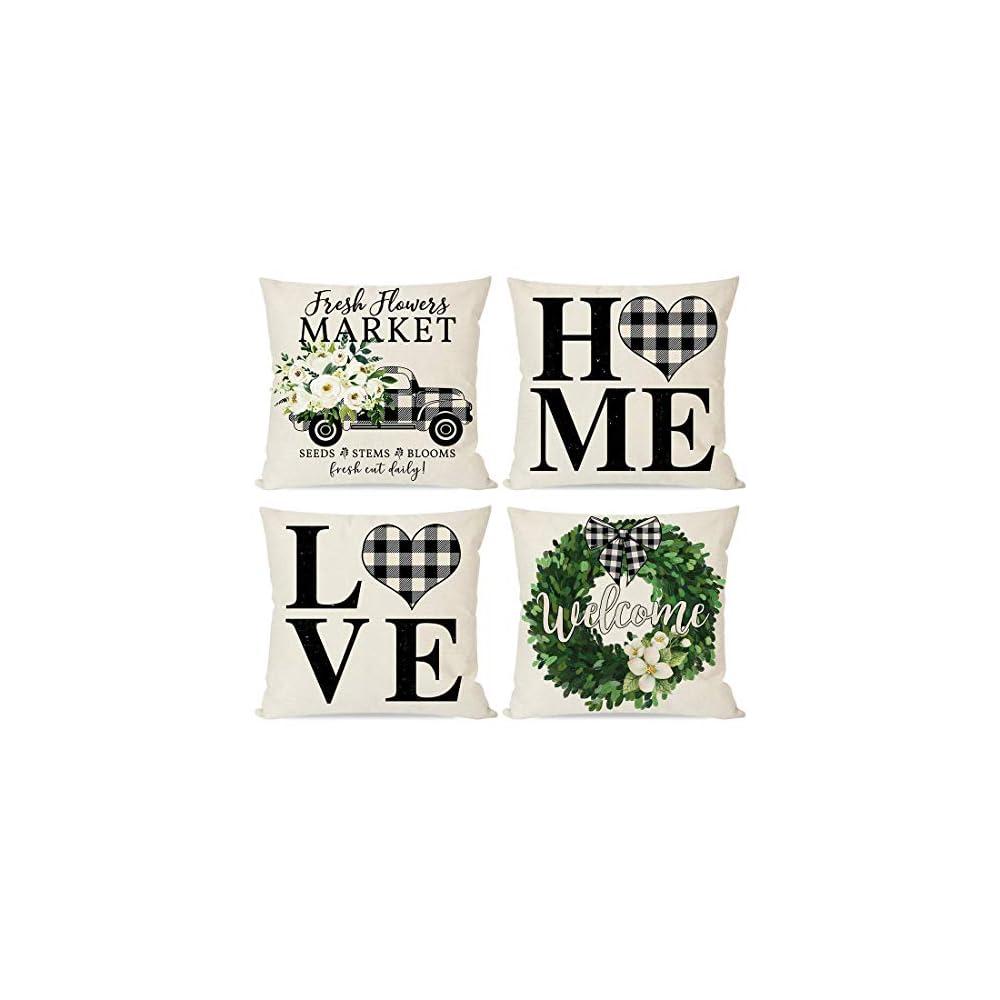 PANDICORN Modern Farmhouse Pillow Covers 18x18 Set of 4, Black Buffalo Plaid Check Home Love Heart Truck Wreath, Spring…