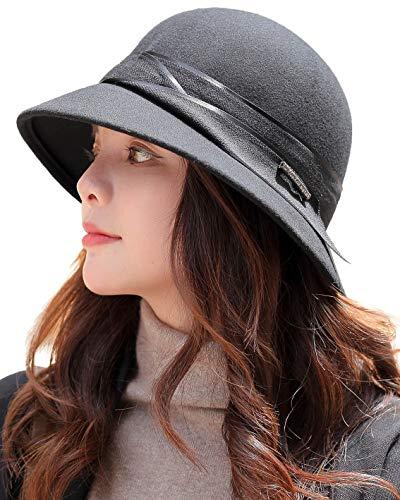 E.Joy Online Women Autumn Winter Wool Felt Cloche Fedora Hat Ladies Church Derby Party