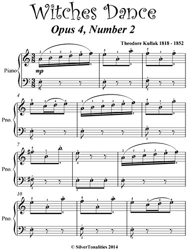 Witches Dance Kullak Opus 4 Number 2 Easy Piano Sheet Music
