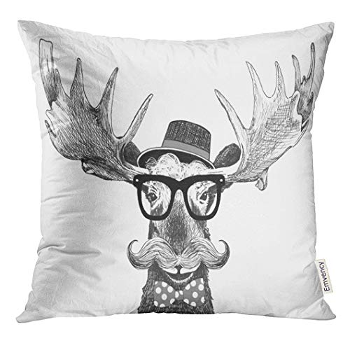 Golee Throw Pillow Cover Hipster Glasses on Moose with Hat Big Handlebar Mustache and Polka Dot Bow Tie Cartoon Animal Statement Decorative Pillow Case Home Decor Square 20x20 Inches Pillowcase