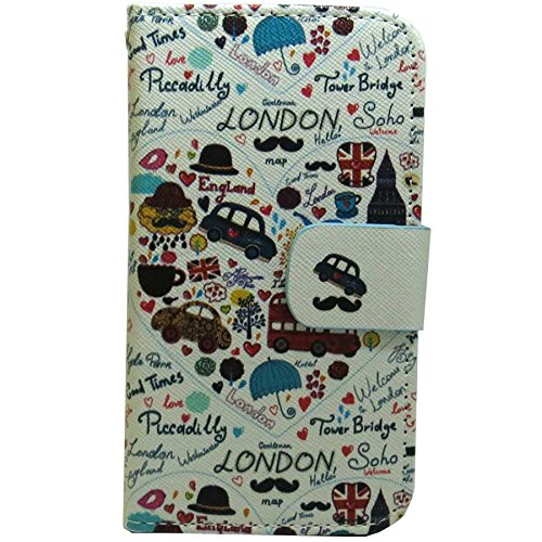 1x New Cute Fashion Patterns Wallet Credit Card Slots Kickstand Flip case cover for ZTE Zmax 2 Zmax II Zmax-2 / Z958 (UK London Car - Mall New London