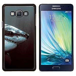 KLONGSHOP // Cubierta de piel con cierre a presión Shell trasero duro de goma Protección Caso - Tiburón Blanco Jaw - Samsung Galaxy A7 A7000 //