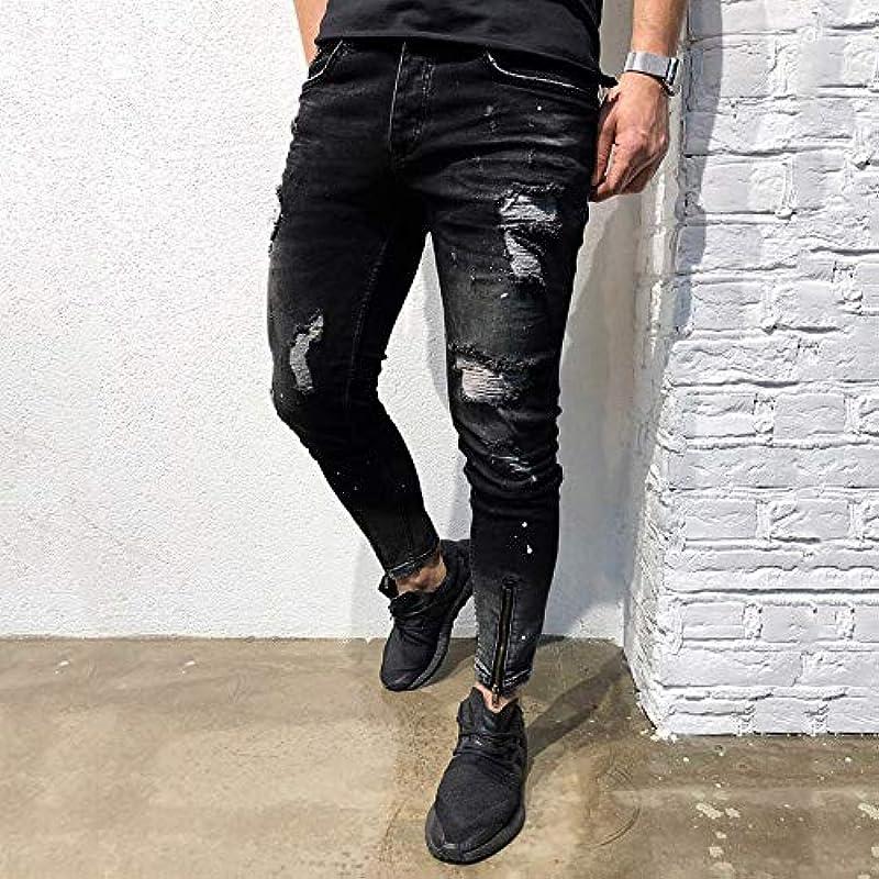 Lyrics męskie spodnie jeansowe, spodnie rekreacyjne, modne spodnie w stylu 2019, krÓj Straight-Cut, Slim z oddychającym wzornictwem, Fit Basic Stretch Pants: Odzież