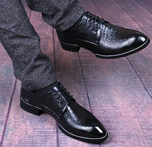 Pelle Da Derby In Scarpe Di Uomo In Casual Black1 Moda Finta Coccodrillo Pelle qzwC6C