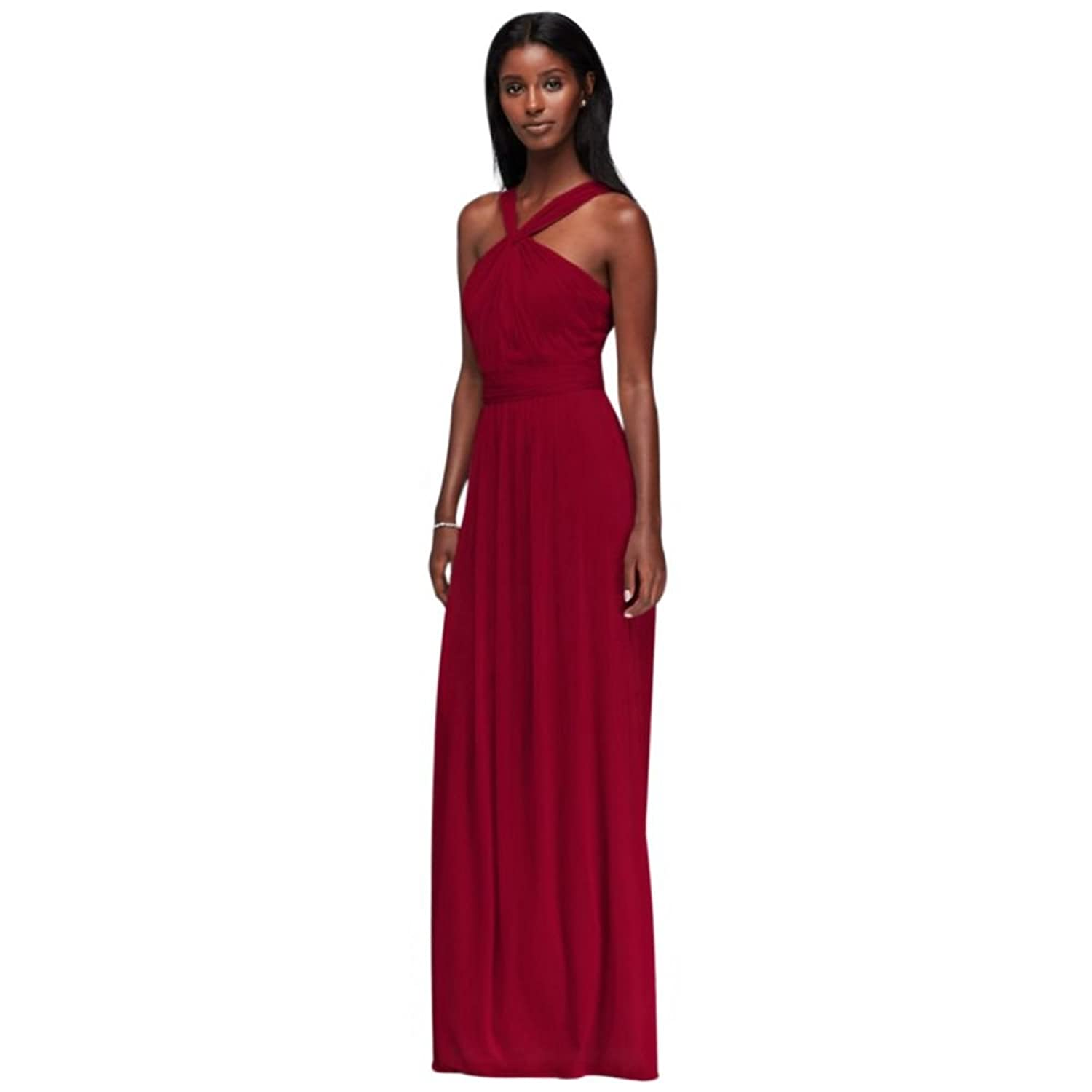 Davids bridal structured mikado strapless long bridesmaid dress davids bridal y neck long mesh bridesmaid dress style w11173 ombrellifo Images