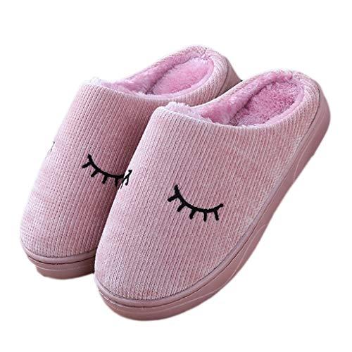 Rutschfeste Bunte Haus Baumwollpantoffel Nettes 39 Pink Weibliches Farbe weich Karikatur AMINSHAP Plüsch Pantoffel besohlte 40EU Haus größe Winter dXwOFqYXx