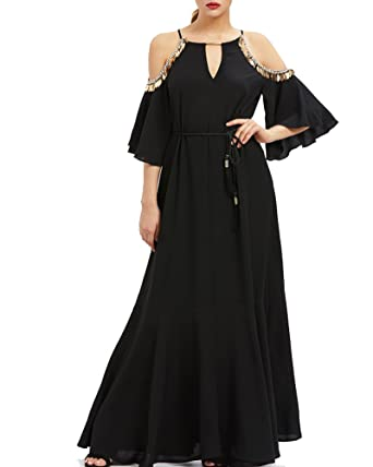 Roiii Womens Vintage Elegant Lace Floral Chiffon Off Shoulder 3/4 Sleeve Prom Ball Gown