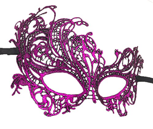 Flywife Lace Masquerade Ball Mask Venetian Swan Mardi Gras Halloween Costume Party Mask (A Purple Red Swan) -