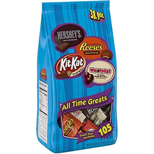 Hershey All Time Greats Chocolate Candy Assortment (HERSHEY'S, REESES, KIT KAT, WHOPPERS), Snack Size, 38.9 oz., 105 Pieces