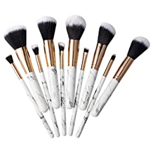 Marble Makeup Brush Set, Zodaca 10-piece Professional Stylish Eyeshadow Foundation Concealer Contour Cosmetic Travel Brush Kit with High-Quality Wooden Handles